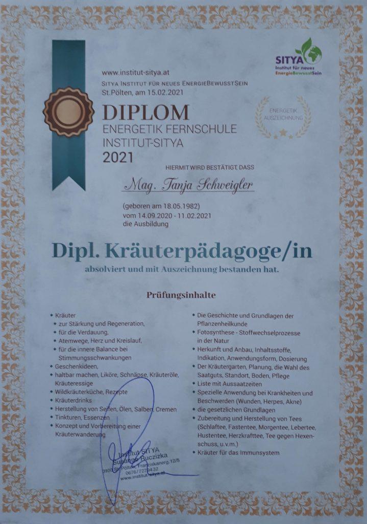 Diplom zur Kräuterpädagogin