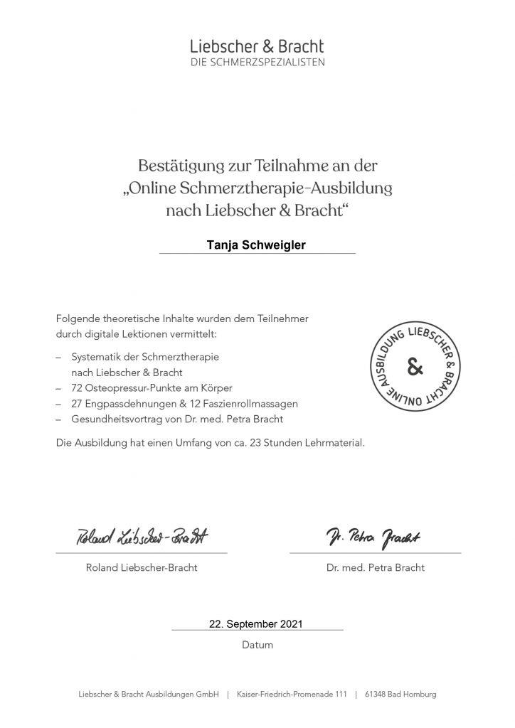 Liebscher & Bracht Zertifikat